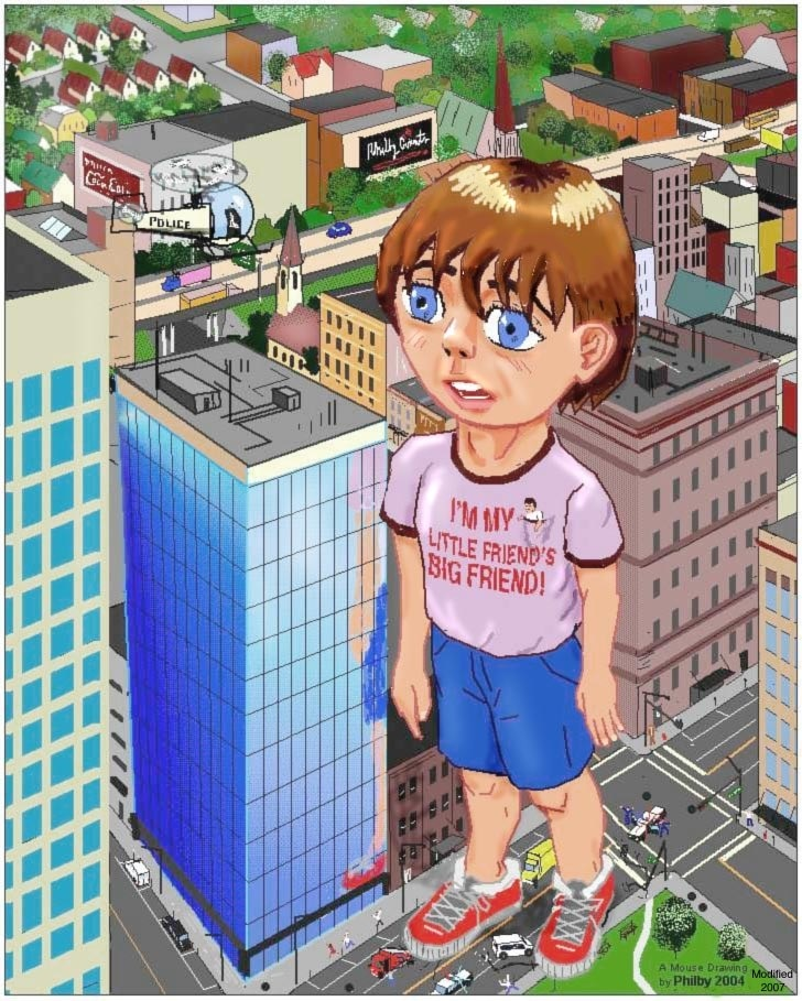 giant boy in the city